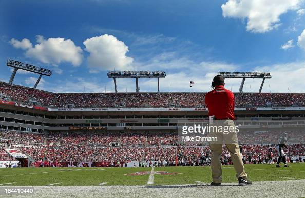 Tampa Bay Buccaneers head coach Greg Schiano looks on during a game against the Philadelphia Eagles at Raymond James Stadium on October 13 2013 in...