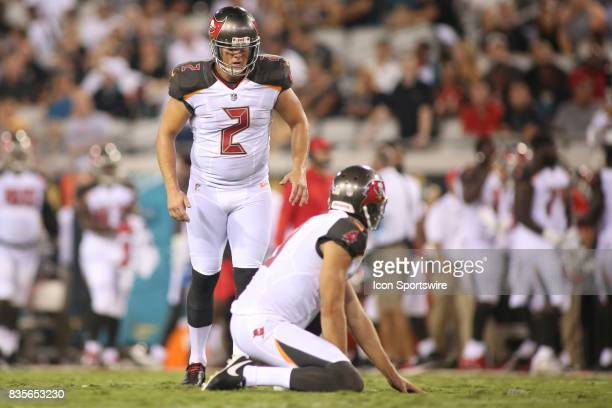 Tampa Bay Buccaneers kicker Nick Folk lines up for a field goal during the preseason game against the Jacksonville Jaguars on August 17 at EverBank...