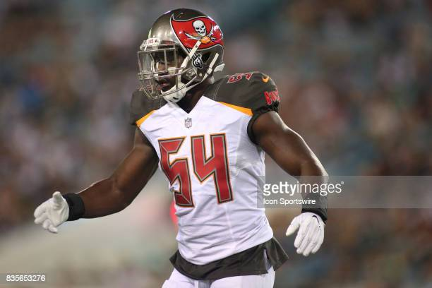 Tampa Bay Buccaneers linebacker Lavonte David gets ready for a play during the preseason game against the Jacksonville Jaguars on August 17 at...