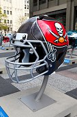 Tampa Bay Buccaneers NFL football helmet is on display in Pioneer Court to commemorate the NFL Draft 2015 in Chicago on April 30 2015 in Chicago...