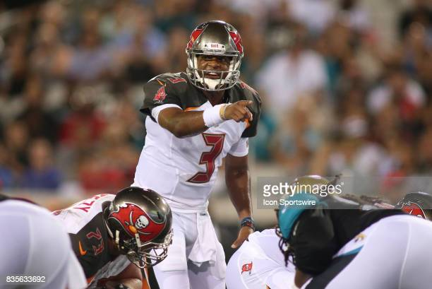 Tampa Bay Buccaneers quarterback Jameis Winston changes a play at the line during the preseason game against the Jacksonville Jaguars on August 17 at...