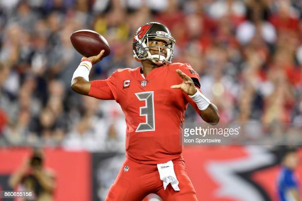 Tampa Bay Buccaneers quarterback Jameis Winston sets up to pass during an NFL football game between the New England Patriots and the Tampa Bay...