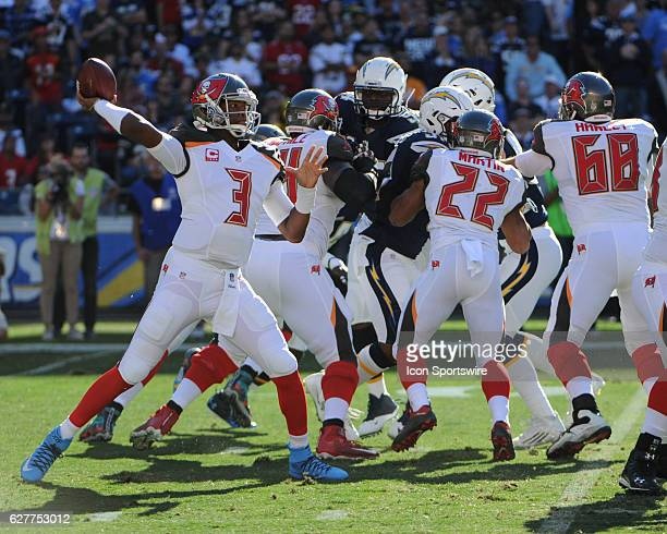 Tampa Bay Buccaneers Quarterback Jameis Winston throws a pass with great protection from Tampa Bay Buccaneers Running Back Doug Martin and Tampa Bay...