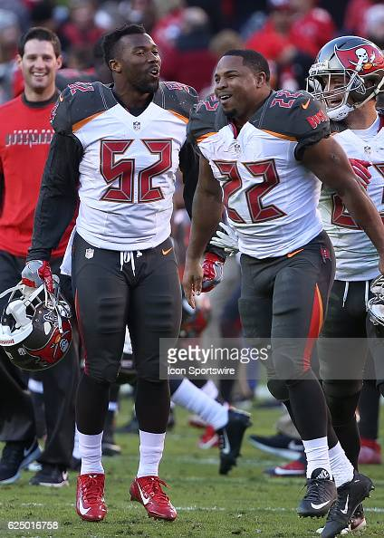 Tampa Bay Buccaneers running back Doug Martin and linebacker Cameron Lynch celebrate after victory in week 11 NFL game between the Tampa Bay...