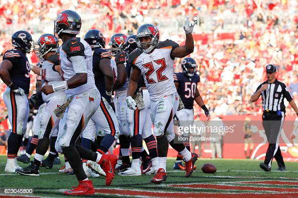 Tampa Bay Buccaneers running back Doug Martin celebrates after scoring a touchdown in the 4th quarter of the NFL game between the Chicago Bears and...