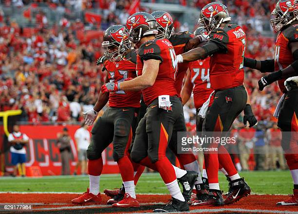Tampa Bay Buccaneers running back Doug Martin celebrates with teammates after scoring a touchdown in the 2nd quarter of the NFL game between the New...