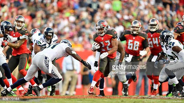 Tampa Bay Buccaneers Running Back Doug Martin finds some running room during an NFL football game between the Seattle Seahawks and the Tampa Bay...