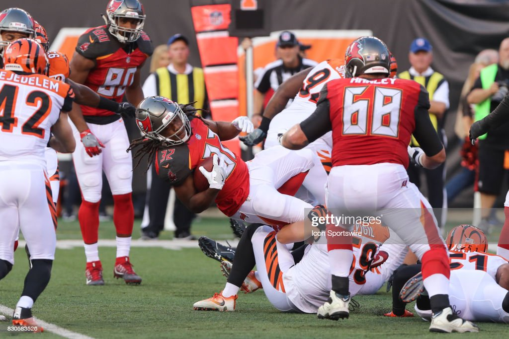 Tampa Bay Buccaneers running back Jacquizz Rodgers (32) dives down field during the preseason game against the Tampa Bay Buccaneers and the Cincinnati Bengals at Paul Brown Stadium on August 11th, 2017 in Cincinnati, Ohio.