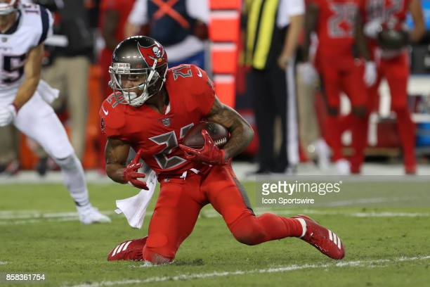 Tampa Bay Buccaneers safety Justin Evans intercepts a pass in the 1st quarter of the NFL game between the New England Patriots and Tampa Bay...
