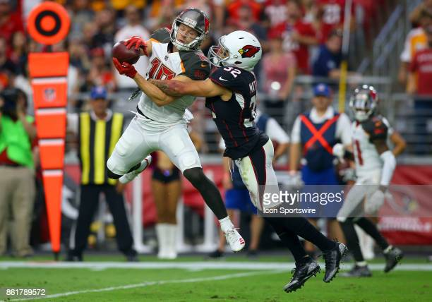 Tampa Bay Buccaneers wide receiver Adam Humphries makes a catch over Arizona Cardinals free safety Tyrann Mathieu during a National Football League...