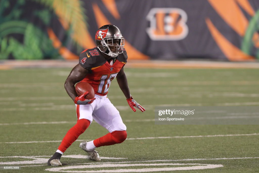 Tampa Bay Buccaneers wide receiver Bernard Reedy (18) returns a kickoff during the preseason game against the Tampa Bay Buccaneers and the Cincinnati Bengals at Paul Brown Stadium on August 11th, 2017 in Cincinnati, Ohio. The Bengals defeated the Buccaneers 23-12.