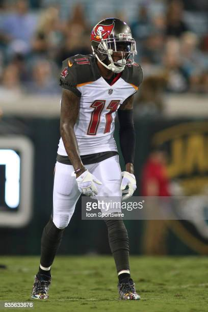 Tampa Bay Buccaneers wide receiver DeSean Jackson lines up for a play during the preseason game against the Jacksonville Jaguars on August 17 at...