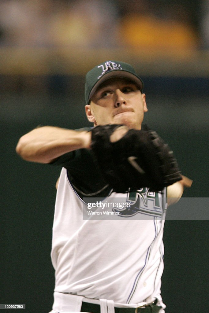 Tampa Bay Devil Rays 22year old AllStar pitcher Scott Kazmir works against the Boston Red Sox at Tropicana Field in St Petersburg Florida on July 3...