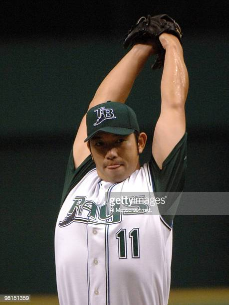 Tampa Bay Devil Rays Hideo Nomo pitches against the Oakland Athletics April 9 2005 at Tropicana Field Nomo gave up one hit and one run in six innings
