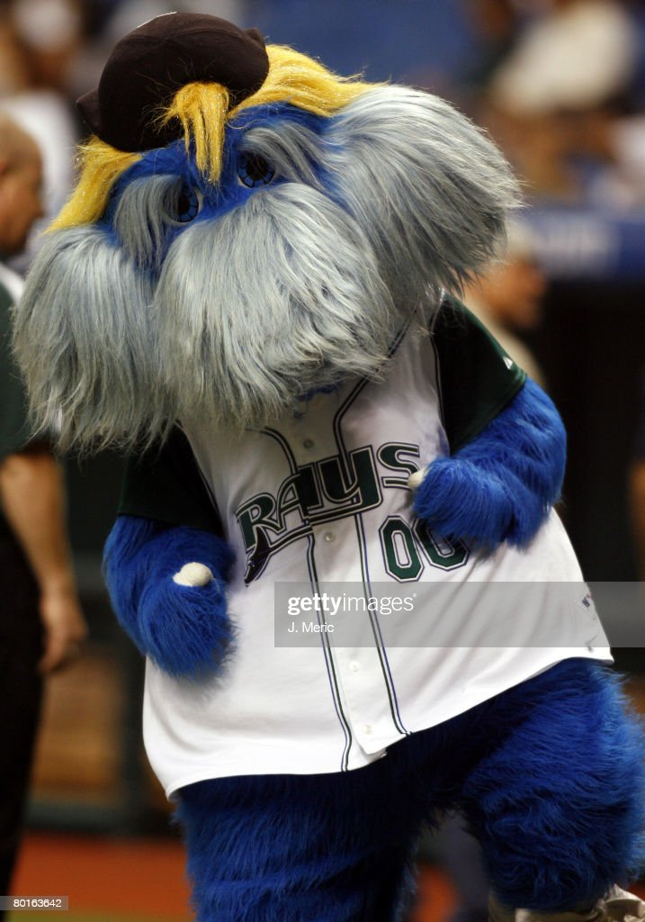 Tampa Bay Devil Rays mascot 'Raymond' has some fun prior to Friday night's game between Tampa Bay and New York at Tropicana Field in St Petersburg...