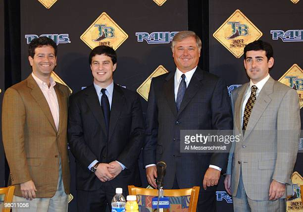 Tampa Bay Devil Rays owner Stuart Sternberg Andrew Friedman Gerry Hunsicker and Matt Silverman meet the media at a press conference November 3 2005...