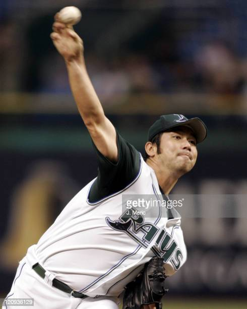 Tampa Bay Devil Rays starter Hideo Nomo makes a pitch to the New York Yankees on Wednesday May 4 2005 at Tropicana Field in St Petersburg Florida