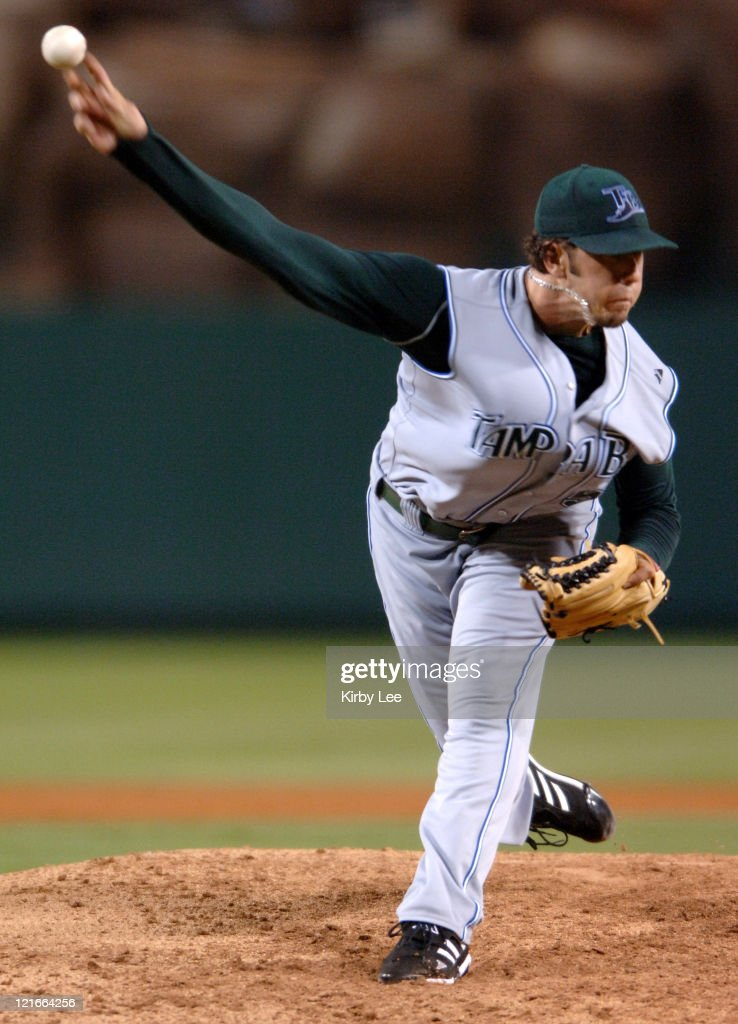 Tampa Bay Devil Rays starter James Shields pitches during 92 loss to the Los Angeles Angels of Anaheim at Angel Stadium in Anahiem Calif on Saturday...