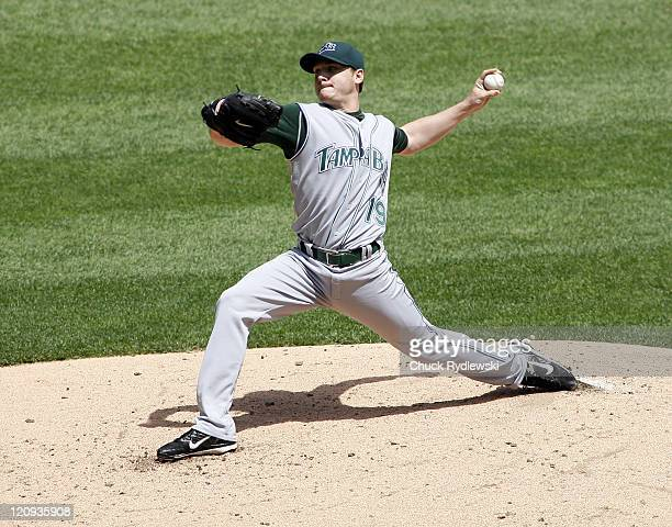 Tampa bay Devil Rays Starter Scott Kazmir pitching during their game versus Chicago White Sox May 27 2007 at Cellular Field in Chicago Illinois The...