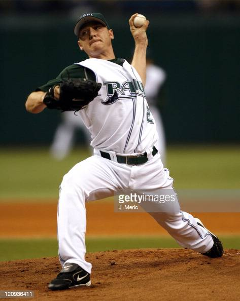 Tampa Bay Devil Rays starting pitcher Scott Kazmir makes a pitch in Sunday's game against Florida at Tropicana Field in St Petersburg Florida on May...