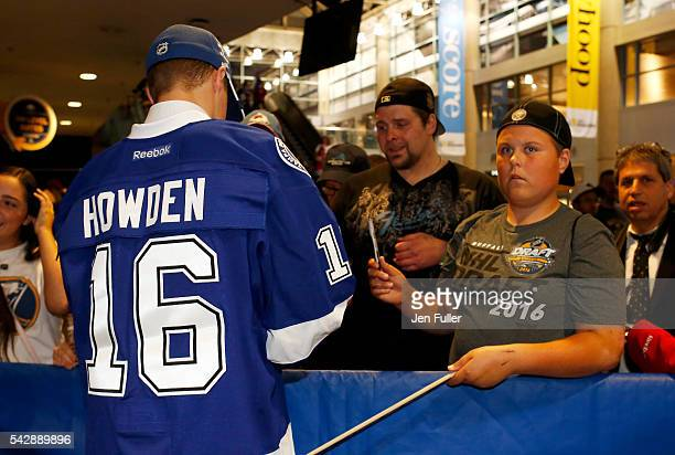 Tampa Bay Lightning Brett Howden signs autographs for fans after being selected 27th overall during round one of the 2016 NHL Draft on June 24 2016...