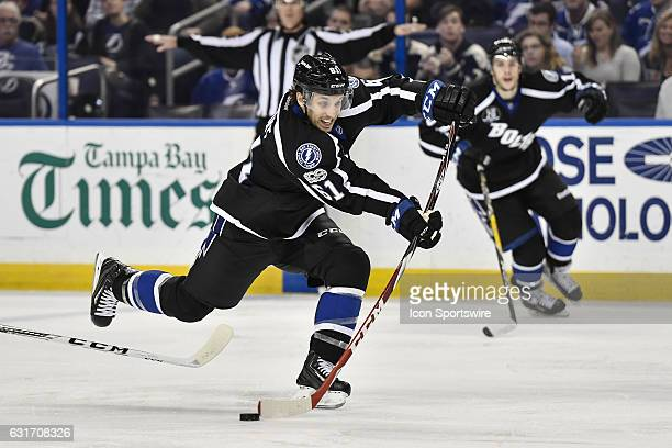 Tampa Bay Lightning center Gabriel Dumont takes a shot during the second period of an NHL game between the Tampa Bay Lightning and the Columbus Blue...