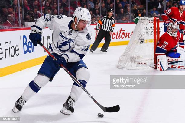 Tampa Bay Lightning Center Greg McKegg in control of the puck during the Tampa Bay Lightning versus the Montreal Canadiens game on April 7 at Bell...