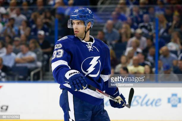 Tampa Bay Lightning center Greg McKegg skates in the 1st period of the NHL game between the Detroit Red Wings and Tampa Bay Lightning on March 30 at...