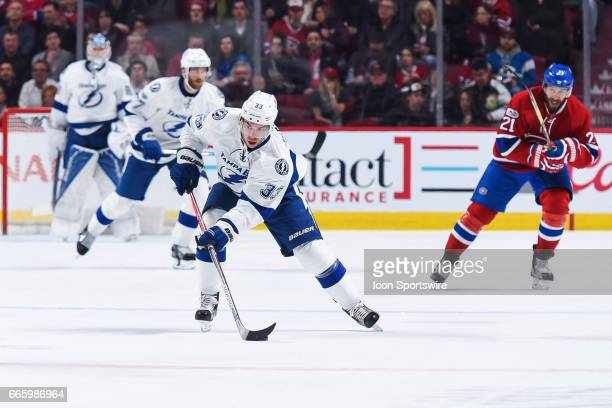 Tampa Bay Lightning Center Greg McKegg skating towards Canadiens territory during the Tampa Bay Lightning versus the Montreal Canadiens game on April...