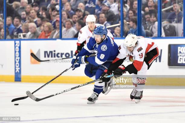 Tampa Bay Lightning center Tyler Johnson cuts in on Ottawa Senators right Wing Bobby Ryan during the second period of an NHL game between the Ottawa...