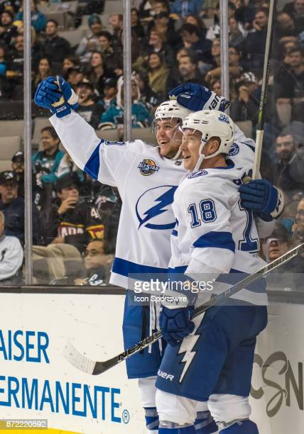 Tampa Bay Lightning Defenceman Jake Dotchin and Tampa Bay Lightning Left Wing Ondrej Palat celebrate the Lightning's first goal of the night during...
