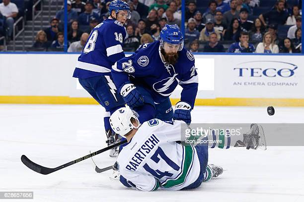 Tampa Bay Lightning defenseman Luke Witkowski open ice checks Vancouver Canucks left wing Sven Baertschi in the second period of the NHL game between...