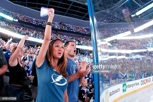 Tampa Bay Lightning fans cheer during Game Two of the 2015 NHL Stanley Cup Final against the Chicago Blackhawks at Amalie Arena on June 6 2015 in...