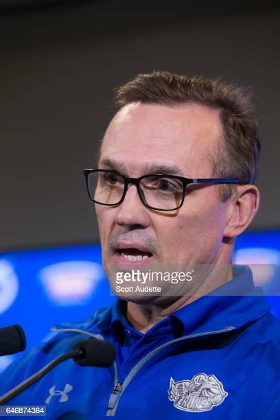 Tampa Bay Lightning General Manager Steve Yzerman talks during a press conference before the game against the Carolina Hurricanes at Amalie Arena on...