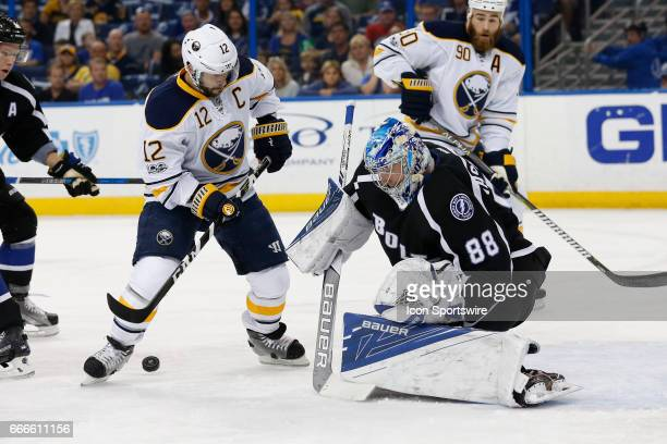 Tampa Bay Lightning goalie Andrei Vasilevskiy blocks a shot from Buffalo Sabres right wing Brian Gionta in the 1st period of the NHL game between the...