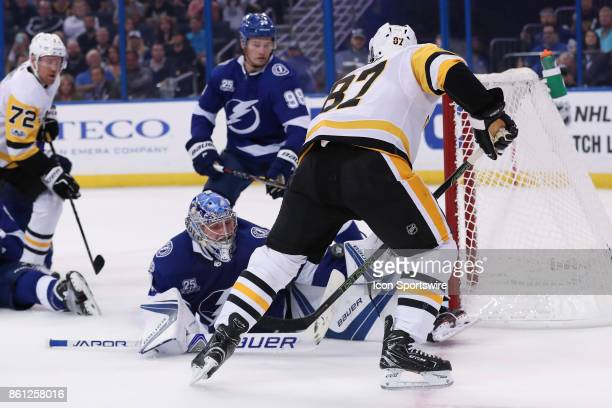 Tampa Bay Lightning goalie Andrei Vasilevskiy blocks the shot from Pittsburgh Penguins center Sidney Crosby in the 1st period of the NHL game between...