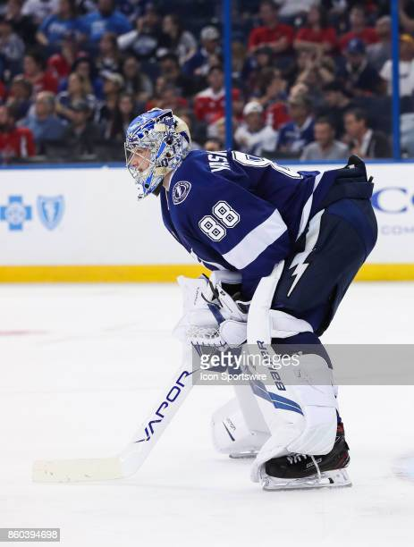 Tampa Bay Lightning goalie Andrei Vasilevskiy during the NHL game between the Washington Capitals and Tampa Bay Lightning on October 09 2017 at...