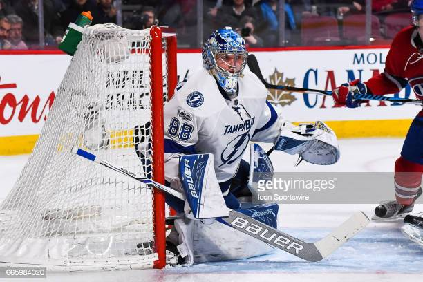 Tampa Bay Lightning Goalie Andrei Vasilevskiy following the play after stopping a shot during the Tampa Bay Lightning versus the Montreal Canadiens...