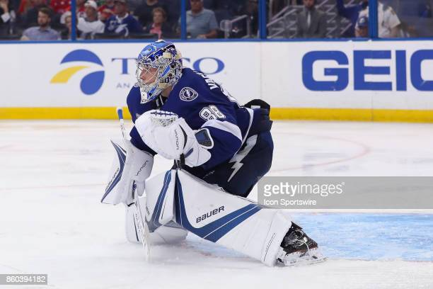 Tampa Bay Lightning goalie Andrei Vasilevskiy in action during the NHL game between the Washington Capitals and Tampa Bay Lightning on October 09...