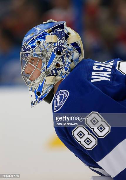 Tampa Bay Lightning goalie Andrei Vasilevskiy in the 1st period of the NHL game between the Washington Capitals and Tampa Bay Lightning on October 09...