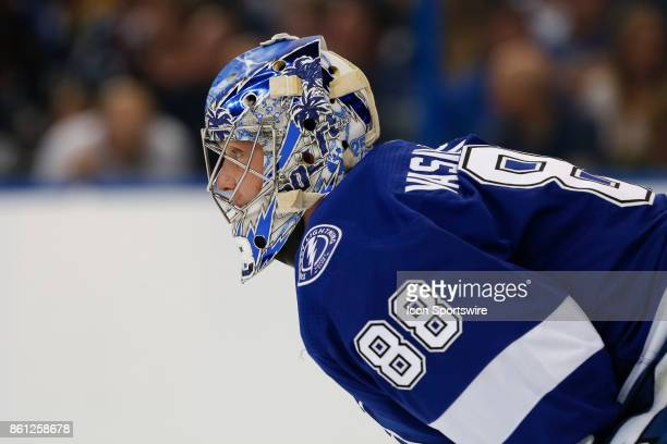 Tampa Bay Lightning goalie Andrei Vasilevskiy in the 1st period of the NHL game between the Pittsburgh Penguins and Tampa Bay Lightning on October 12...