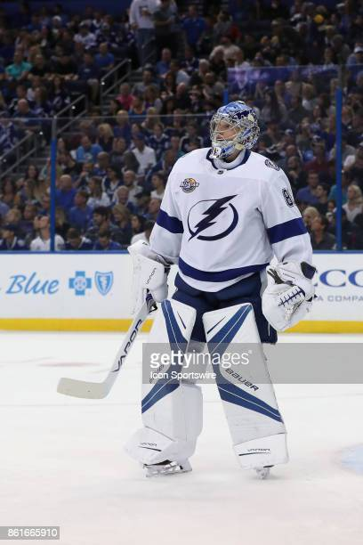 Tampa Bay Lightning goalie Andrei Vasilevskiy in the 1st period of the NHL game between the St Louis Blues and Tampa Bay Lightning on October 14 2017...