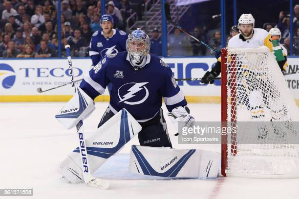 Tampa Bay Lightning goalie Andrei Vasilevskiy in the 3rd period of the NHL game between the Pittsburgh Penguins and Tampa Bay Lightning on October 12...