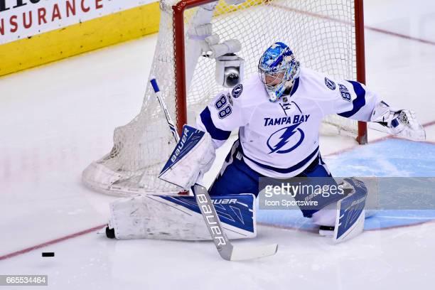 Tampa Bay Lightning Goalie Andrei Vasilevskiy makes a pad save during the regular season NHL game between the Tampa Bay Lightning and Toronto Maple...