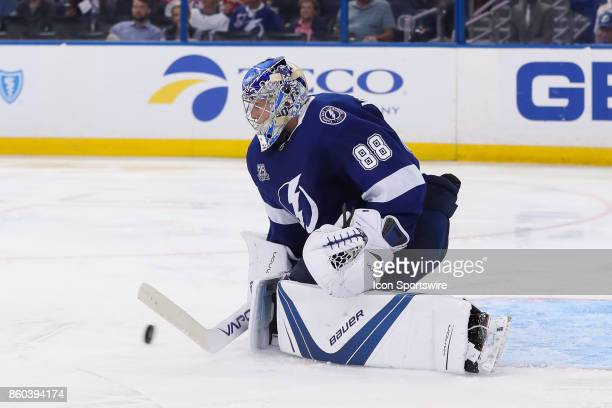 Tampa Bay Lightning goalie Andrei Vasilevskiy makes a save during the NHL game between the Washington Capitals and Tampa Bay Lightning on October 09...