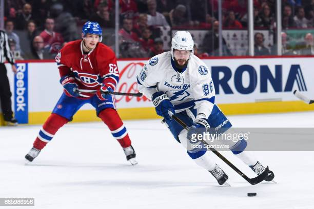 Tampa Bay Lightning Goalie Andrei Vasilevskiy skating in control of the puck during the Tampa Bay Lightning versus the Montreal Canadiens game on...
