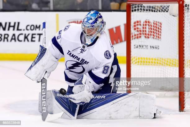 Tampa Bay Lightning goalie Andrei Vasilevskiy spills a shot during a regular season NHL game between the Boston Bruins and the Tampa Bay Lightning on...