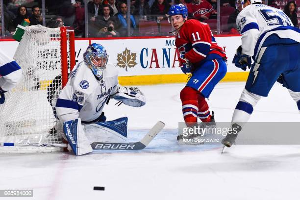 Tampa Bay Lightning Goalie Andrei Vasilevskiy stops a shot from Montreal Canadiens Right Wing Brendan Gallagher during the Tampa Bay Lightning versus...