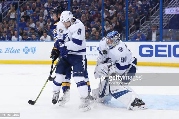 Tampa Bay Lightning goalie Andrei Vasilevskiy uses his body to block the puck after it was redirected by St Louis Blues center Paul Stastny and Tampa...