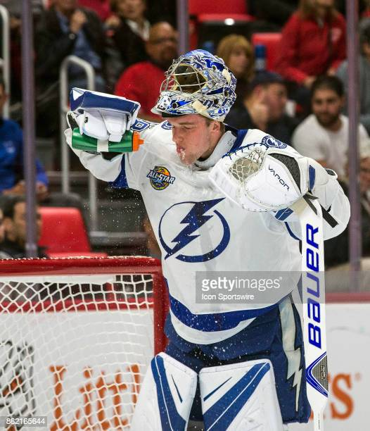 Tampa Bay Lightning goaltender Andrei Vasilevskiy sprays water on his face during a media timeout in the first period of the Tampa Bay Lightning at...